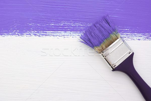 Stripe viola vernice pennello bianco orizzontale Foto d'archivio © sarahdoow