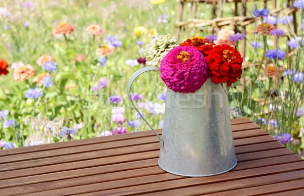 Zinnias in a rustic pitcher on a garden table Stock photo © sarahdoow
