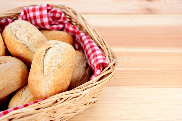 Stock photo: Closeup of fresh petit pain in a basket