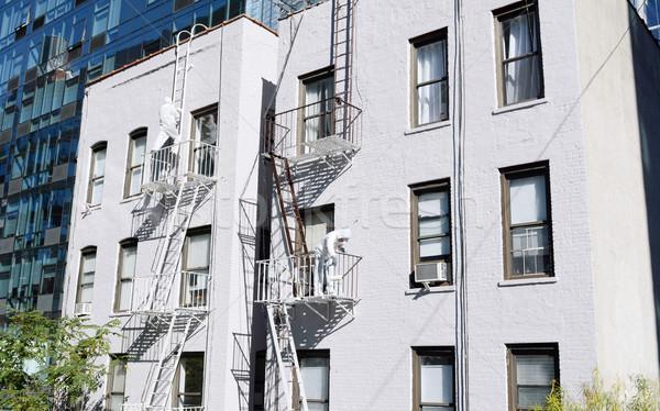 Twee schilderij brand verf metaal witte Stockfoto © sarahdoow
