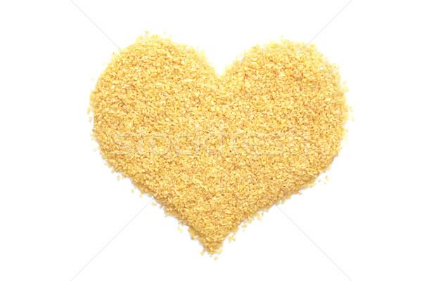 Foto stock: Trigo · forma · de · corazón · aislado · blanco · alimentos · corazón