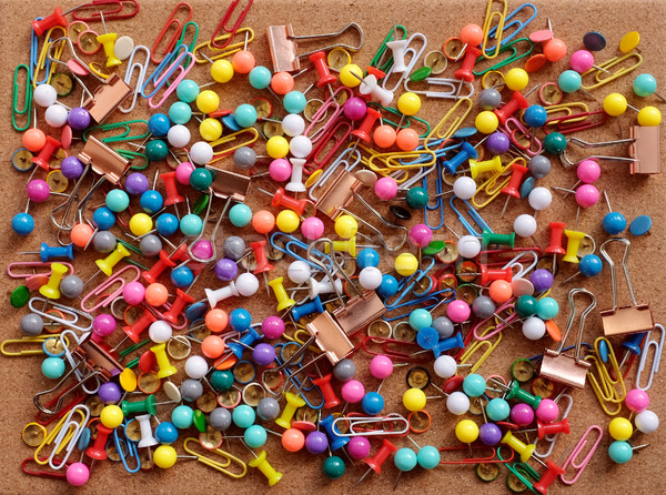 Background of drawing pins, paper clips and binder clips Stock photo © sarahdoow
