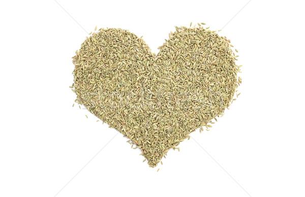 Koper nasion kształt serca odizolowany biały żywności Zdjęcia stock © sarahdoow