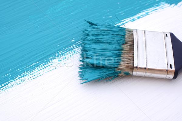 Primo piano pennello pittura blu texture Foto d'archivio © sarahdoow