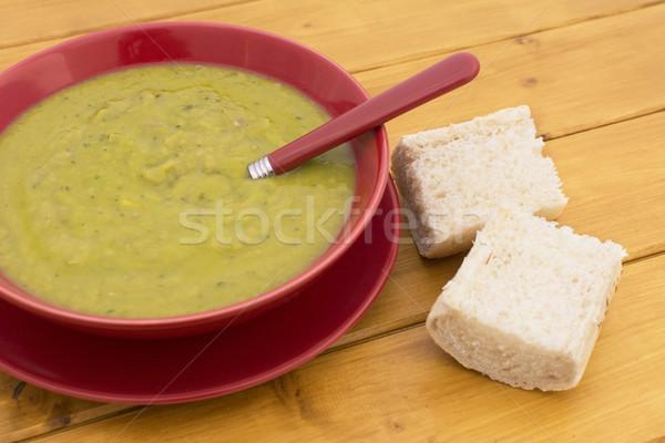 Photo stock: Vert · jambon · soupe · servi · pain · rouge
