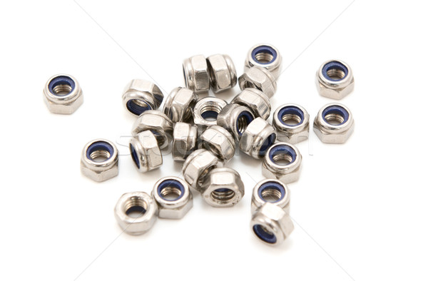 Stockfoto: Noten · geïsoleerd · witte · metaal · industrie · staal