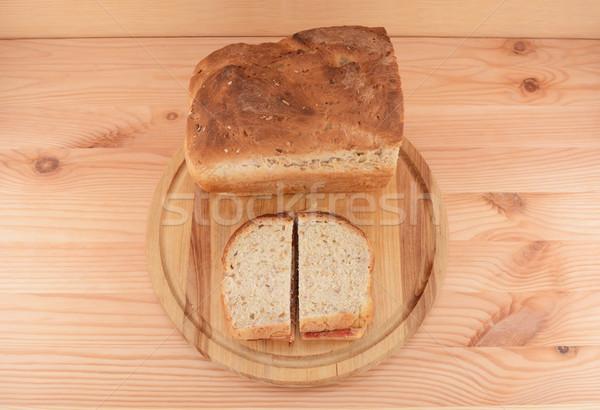 Fresh bread with two PB&J sandwiches Stock photo © sarahdoow