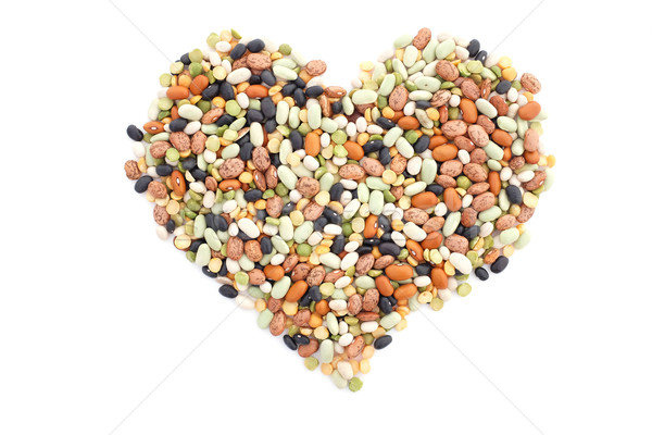 Mixed dried beans in a heart shape Stock photo © sarahdoow