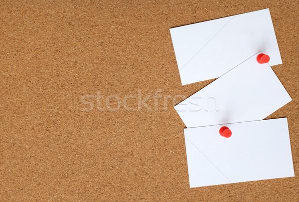 Parafa tábla három fehér kártyák dugó hirdetőtábla Stock fotó © sarahdoow
