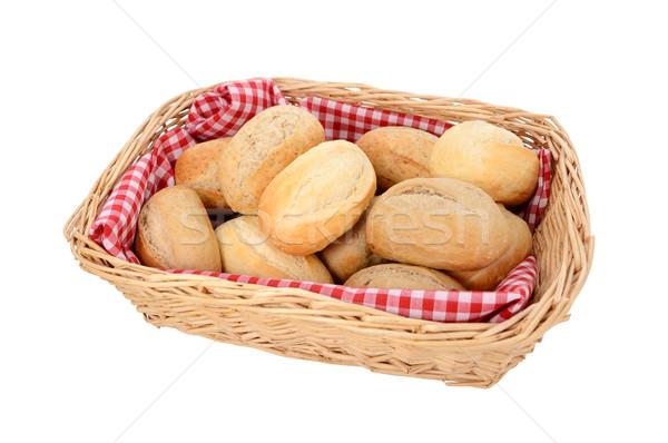 Stock photo: Basket of freshly baked bread rolls