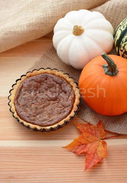 Mini pumpkin pie with fall gourds Stock photo © sarahdoow