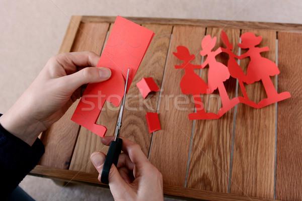 Foto stock: Cadeia · vermelho · papel · bonecas · tesoura