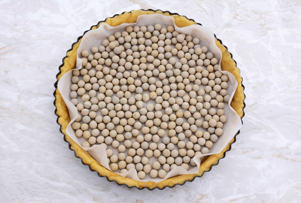 Ceramic beans in an uncooked pie crust Stock photo © sarahdoow