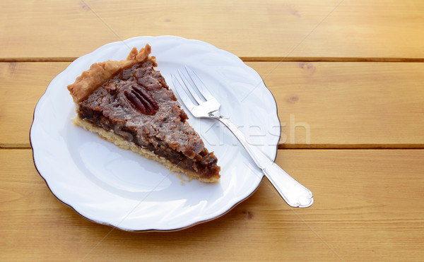 Slice of pecan pie on a china plate with a fork Stock photo © sarahdoow