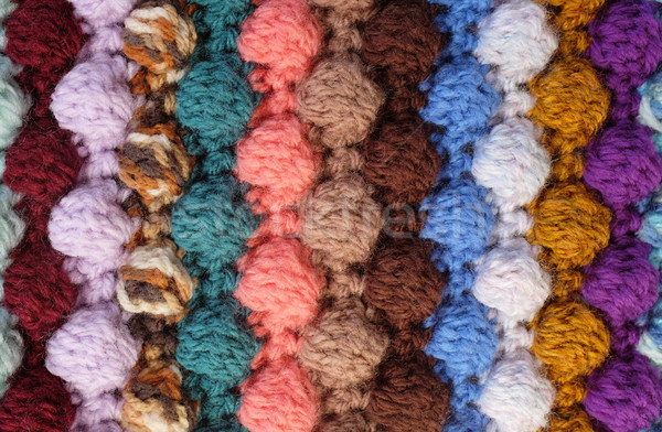 Vertical bobble crochet stitches, multi-coloured wool striped ba Stock photo © sarahdoow