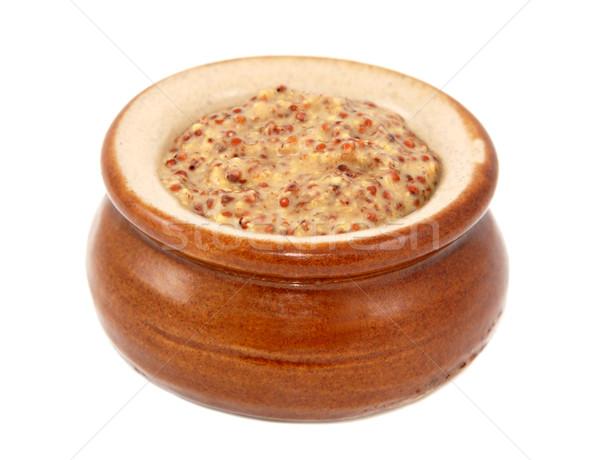 Wholegrain mustard served in a small ceramic pot Stock photo © sarahdoow