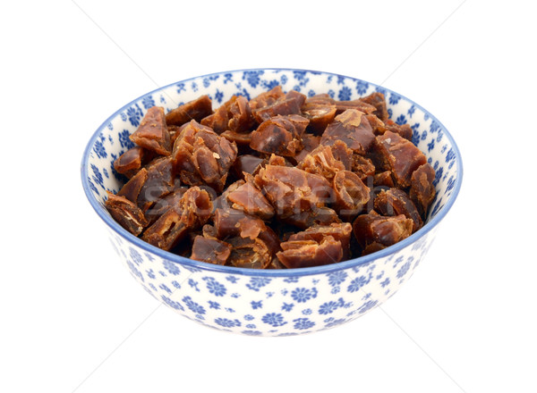 Chopped dates in a blue and white china bowl Stock photo © sarahdoow