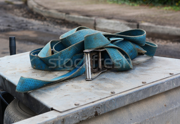 Blue strap with a metal buckle on a trailer Stock photo © sarahdoow