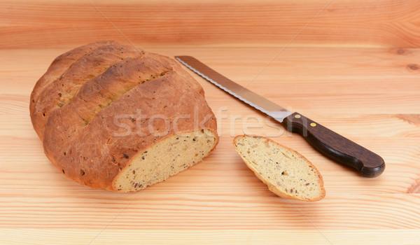 Vers gebakken brood brood mes tabel Stockfoto © sarahdoow