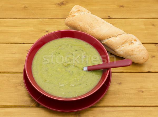 чаши ветчиной суп багет полный зеленый Сток-фото © sarahdoow