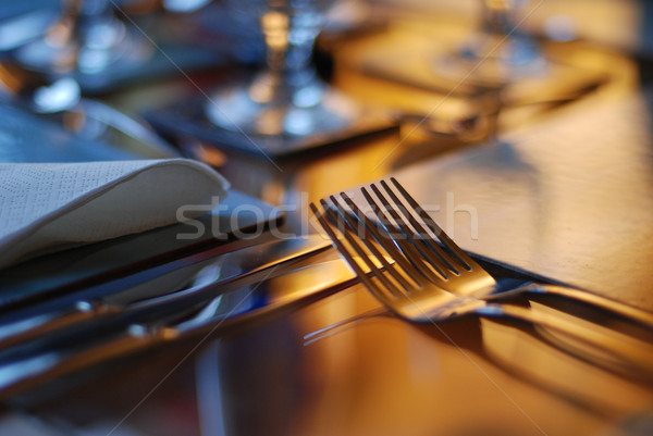 Table set for fine dining Stock photo © sarahdoow