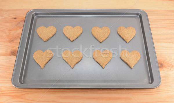 Nyolc sütik kekszek süti lap friss Stock fotó © sarahdoow