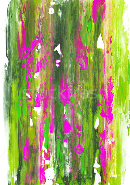 Long streaks of green and pink paint on white paper  Stock photo © sarahdoow