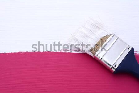Foto stock: Sujo · pincel · pintado · pinho · usado