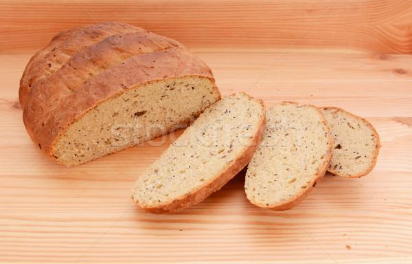 Trzy plastry świeże chleba bochenek nowego Zdjęcia stock © sarahdoow