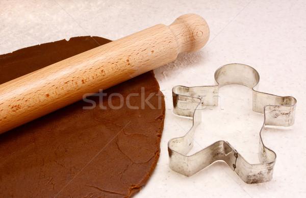 Peperkoek deegrol cookie houten gingerbread man voedsel Stockfoto © sarahdoow