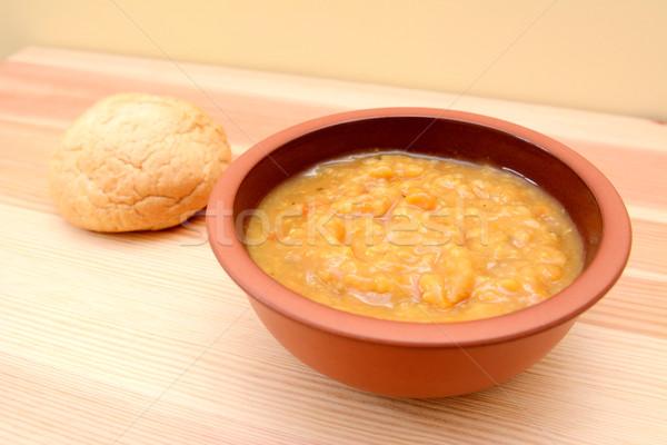 Stockfoto: Groentesoep · brood · rollen · voedsel · hout