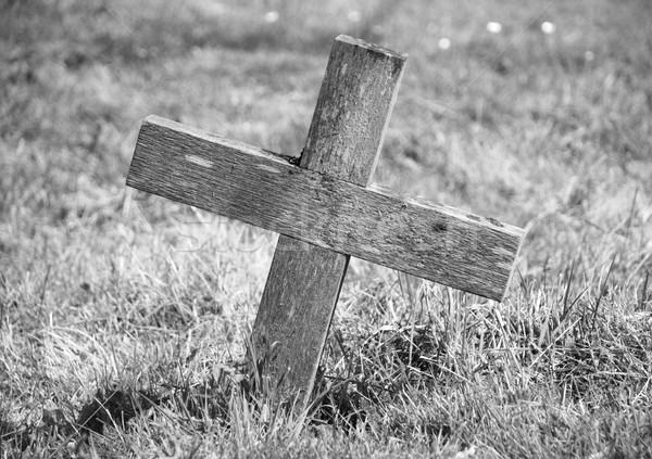 Wooden cross marking a grave Stock photo © sarahdoow