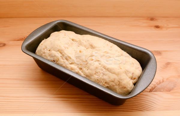 Ekmek somun kalay yulaf ahşap masa Stok fotoğraf © sarahdoow
