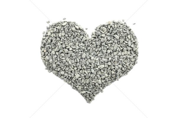 Yeşil küçük taşlar kalp şekli yalıtılmış beyaz Stok fotoğraf © sarahdoow