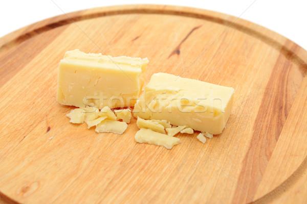 Small blocks of cheddar cheese Stock photo © sarahdoow