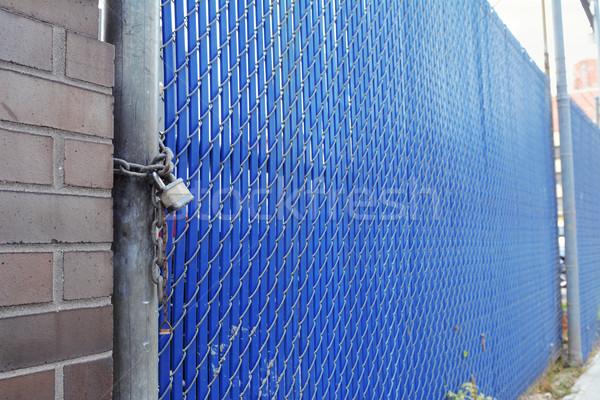 Bezpieczeństwa bramy ciężki kłódki niebieski plastikowe Zdjęcia stock © sarahdoow