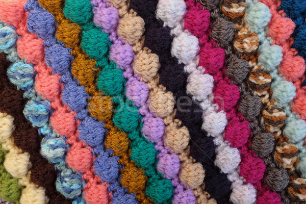 Bobble crochet stitches in diagonal stripes background texture Stock photo © sarahdoow