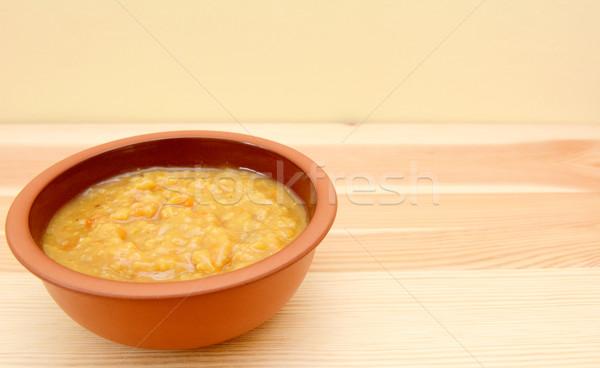 Photo stock: Bol · soupe · aux · légumes · table · en · bois · espace · de · copie · bois