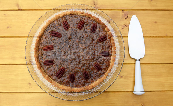 Pecan pie with pie server Stock photo © sarahdoow