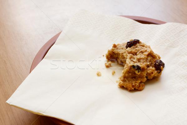 Rozijn cookie bijten heerlijk dessert Stockfoto © sarahdoow