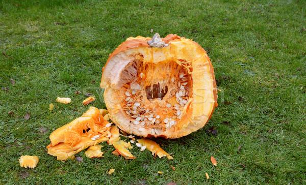 Stock photo: Cross-section of a large orange pumpkin