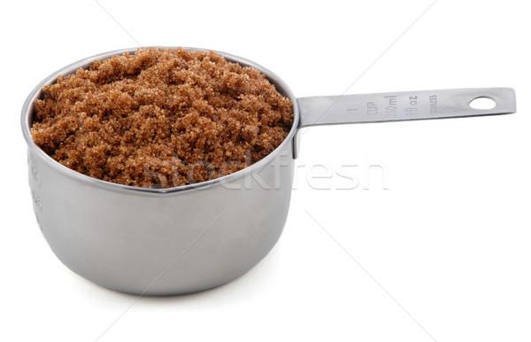 Dark brown soft / muscovado sugar presented in an American metal Stock photo © sarahdoow