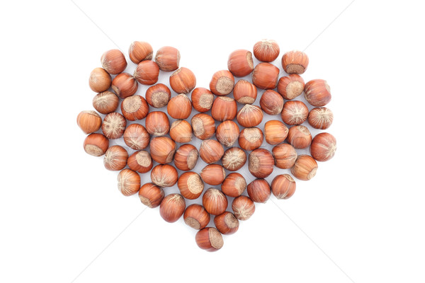 Mogyoró szív alak izolált fehér étel szív Stock fotó © sarahdoow