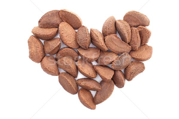 Foto stock: Brasil · nueces · forma · de · corazón · aislado · blanco · corazón