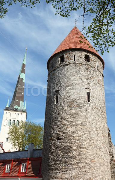 Middeleeuwse toren vierkante Tallinn rond Stockfoto © sarahdoow