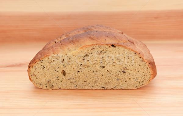 поперечное сечение семени хлеб деревянный стол текстуры Сток-фото © sarahdoow