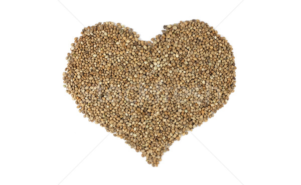 Hemp seeds in a heart shape Stock photo © sarahdoow