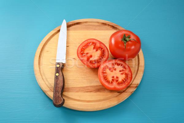 全体 トマト キッチン ナイフ 赤 木製 ストックフォト © sarahdoow