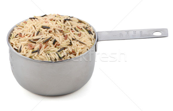 Wild rice, brown basmati and red camargue grains in a cup  Stock photo © sarahdoow