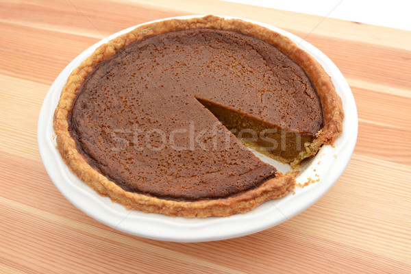 Slice cut from a pumpkin pie in a dish Stock photo © sarahdoow